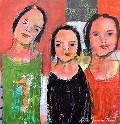 Acrylic Portrait Painting Mixed Media Collage Art Palette Knife Painting Three Women Little Sister Humorous Painting 12x12 Canvas Bold Color