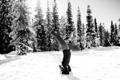 Lindsay Stark doing a headstand, a yoga pose, at Mt. Hood, photographed by Daniel Stark