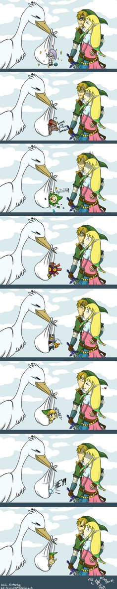 OMG hahaha Link's face xD and to be honest i think they would be better off having the kid on their own...