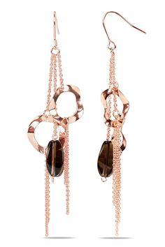 Gemstones Galore 17 ct Smokey Quartz Earrings in 18k Rose Gold Plating