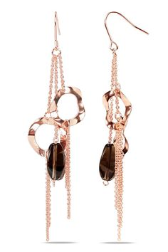 Smokey Quartz & Rose Gold Earrings