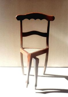 A chair to make you think about how you sit. -?... Strange, my first thought was that she needed a wee ! :))