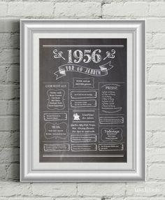 LoveAndLilies.de | Chalkboard Design: Retro Geburtstagsposter 1956 - zum 60. Geburtstag