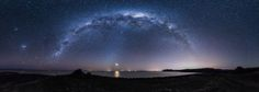 Big panorama of the Milky Way rising and the moon setting over...