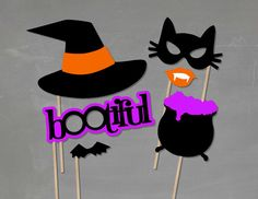 Bootiful Halloween Photo Booth Props - Halloween Photobooth - Costume Party - Witch Hat Prop - Halloween Party - Halloween Photo Booth