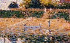 Жорж-Пьер Сёра. Лодки на берегу Аньера 1883  Дерево, масло.  Частное собрание