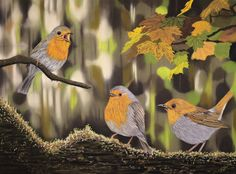 Fine Art Print of my robin pastel painting Chit-Chat. High quality art print of a realistic drawing of three robins, chatting! Green Scenery, Thing 1, Surrealism Painting, Animal Paintings, Pastel Paintings, Pastel Drawing, Realistic Drawings, Beautiful Birds, Original Artwork
