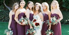 A collection of Arizona Biltmore wedding photos by Rachel Solomon Photography. Burgundy Bridesmaid Dresses, Bridesmaid Dress Styles, Bridesmaid Flowers, Wedding Dresses, Bridesmaids, Autumn Wedding, Elegant Wedding, Wedding Day, Wedding Colors