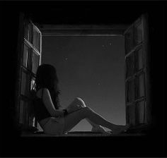 """She stared at the stars like they knew her deepest secret. Night Aesthetic, Aesthetic Art, Aesthetic Anime, Sad Paintings, Alone Girl, Sad Drawings, Arte Obscura, Sad Pictures, Sad Wallpaper"