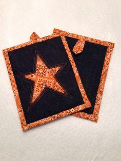 Texas Star Orange Bandana Hot Pad / Mug Rug / Pot Holder / Trivet / Mini-Quilt.