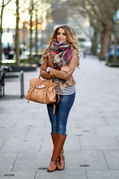 jeans + riding boots + stripes + moto jacket + blanket scarf