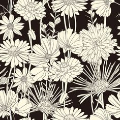 キーワード: 美しい、黒と白のライン アート、パターン、花、背景、ベクター素材 Free Download