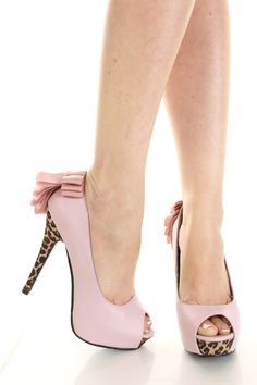 Light Pink Faux Leather Leopard Peeptoe Ribbon Pleat Platform Pump Heels / Sexy Clubwear | Party Dresses | Sexy Shoes | Womens Shoes and Clothing | AMI CLubwear