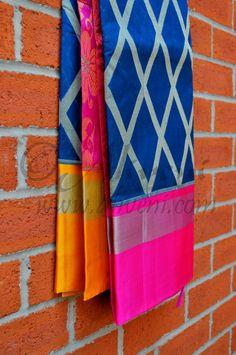 Blue Kuppadam Saree with Ikat Diamond Pattern and Pink/Yellow Borders - Aliveni - 2