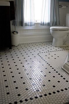 vintage bathroom hexagonal tiles