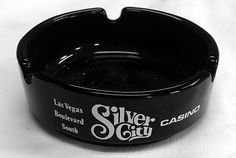 Silver Nugget City Bird Las Vegas Boulevard Vintage Round Black Glass Ashtray