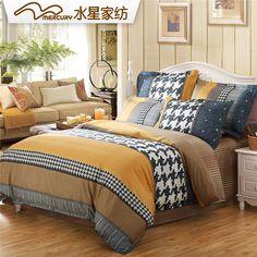 MERCURY Home Textile European Style Cowboy's festival bedding set with 4 pcs 100%cotton bedsheet duvet cover
