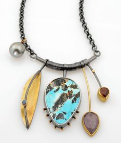 Turquoise Cluster necklace; turquoise with chert, aquamarine, Umba sapphire, spessartite garnet, Tahitian garnet, oxidized silver, 18k & 22k gold. Cluster is 2 inches long on an 18 inch silver chain.  $2090.  |  http://sydneylynch.com/turquoise-cluster-necklace/