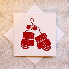 Christmas mittens all cosy and soft :) handmade Lino print greetings card x
