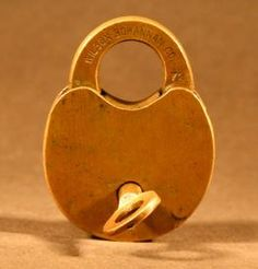 Antique Brass Locksmith Key Lock Bolt Mechanism Padlock