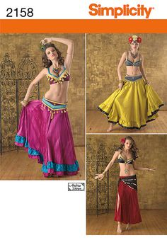 Diy Pattern-Belly Dance Tribal Pattern-Plus Size-Bra,Fringe Belt,Circle Ruffle Skirt Pattern-Simplicity 2158,Plus Size. $6.00, via Etsy.