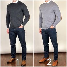 Which would you prefer to wear to a family holiday gathering❓ 1 or The dark gray sweater with dress shoes or a light gray sweater with… Grey Sweater Outfit, Sweater Outfits, Grey Sweater Mens, Sweaters And Jeans, Casual Sweaters, Business Casual Men, Men Casual, Mode Man, Herren Outfit