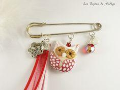 Broche hibou rouge et or: grande épingle : Broche par lesbijouxdenadege Or, Creations, Personalized Items, Jewerly