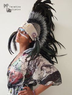 Mohawk Black Feather Headdress Cream Leather by ParadiseGypsies, $145.00