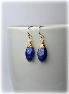 Lapis Lazuli Earrings 14K Gold Filed Gold Blue Earrings #lapislazuliearrings #lapislazuli #goldfilled #blueearrings #dropearrings #dangleearrings #smalldangleearrings #lapisearrings #gemstoneearrings #lapislazulijewelry #giftforwomen #golddropearrings #goldblueearrings