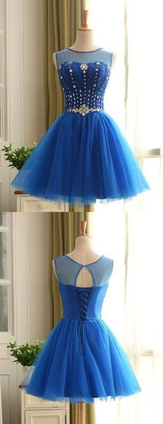 homecoming,blue homecoming dress,keyhole back,short homecoming dresses,short prom dress with beading,cheap homecoming dress with beading,lace up