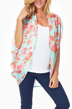 Mint-Green-Floral-Printed-Sheer-Maternity-Cardigan #maternity #fashion