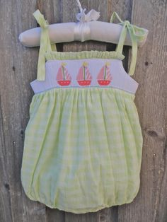Pink Sailboat Smocked Dress