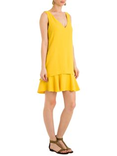 Shop2gether - Vestido Crepe Babados - Animale - Amarelo