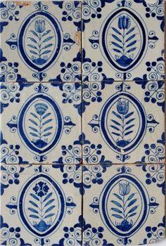 6 Antique authentic Dutch delft delftware blue and white tulip tiles carreau | eBay