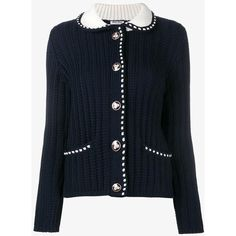 Miu Miu Contrast Stitching Cable Knit Cardigan ($1,325) ❤ liked on Polyvore featuring tops, cardigans, cableknit cardigan, cable cardigans, miu miu cardigan, blue cardigan and miu miu top