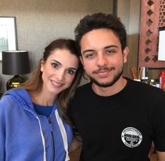 ♔♛Queen Rania of Jordan♔♛... 5-20-2015..Looks like Crown Prince Al Hussein of Jordan is back home from college, he posted this picture on Instagram with his mother, Queen Rania