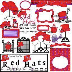 Free Red Hat Lady Graphics | Friends are like red hats, hat stands, hat box, cat in the red hat ...