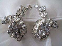 Vintage Baguette Rhinestone Clip On Earrings by mimiyaya on Etsy, $26.00