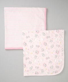 Take a look at this Pink Stripe & Kitty Stroller Blankets Set by Sprockets on #zulily today!