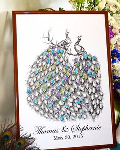 Peacock fingerprint guest book