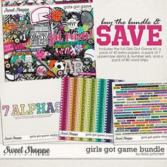 Digital Scrapbooking - Girls Got Game Bundle by Libby Pritchett