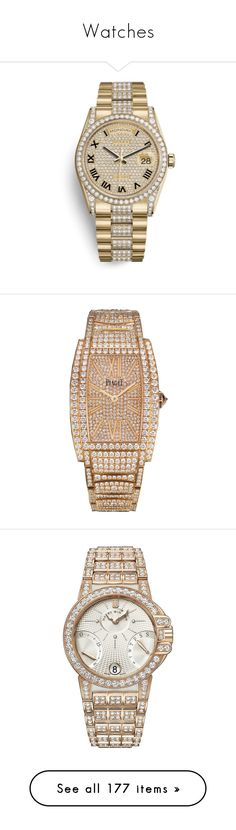 """""""Watches"""" by theodor44444 ❤ liked on Polyvore featuring jewelry, watches, diamond jewelry, roman numeral watches, rose gold tone watches, quartz jewelry, diamond jewellery, polish jewelry, white jewelry and harry winston jewelry"""