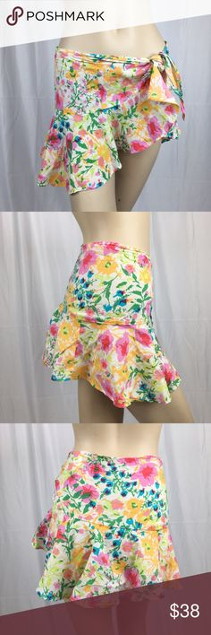 Vintage Ralph Lauren Bathing Suit Sarong Super cute colorful Floral vintage sarong by Tommy Hilfiger. Ruffle bottom and tie waist Ralph Lauren Swim Coverups