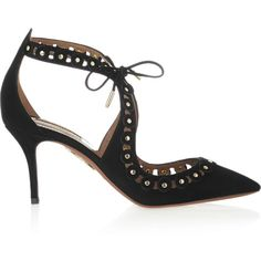 Aquazzura Theo studded suede pumps ($520) ❤ liked on Polyvore featuring shoes, pumps, black, aquazzura shoes, black suede shoes, suede pumps, high heel pumps and tie shoes