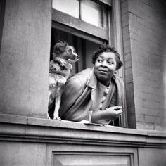 G T @Greg T Instagram photos | Websta - A Woman & Her Dog (Harlem 1943) - Photo from the Gordon Parks Library of Congress #blackart #harlem