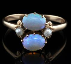 Antique 1900s Art Nouveau Lustrous Pearls and .74 cts Blue Green Opals 10K Rose Gold Ring