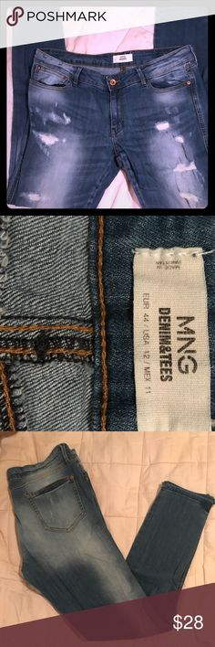 MNG FACTORY DISTRESSED JEANS STRAIGHT LEG SIZE 12 MNG FACTORY DISTRESSED JEANS STRAIGHT LEG SIZE 12. SO CUTE FOR EVERYDAY WEAR AND ESPECIALLY FOR GOING OUT FOR A NIGHT ON THE TOWN! EUC, WORN ABOUT 7x's before I got to pregnant and ALWAYS WAS ASKED AND COMPLAINED ON THIMEM ⭐️ MNG DENIM & TEES Jeans Straight Leg