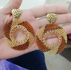 Cute Jewelry, Diy Jewelry, Beaded Jewelry, Beaded Earrings, Pearl Earrings, Brick Stitch Earrings, Beaded Embroidery, Seed Beads, Jewerly