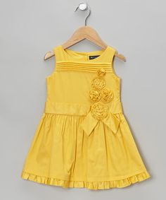 Take a look at this Yellow Germine A-Line Dress - Toddler & Girls by Periwinkle on #zulily today!