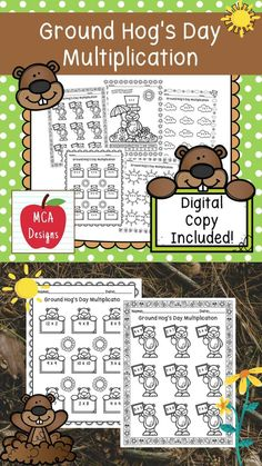 This product features various worksheets and activities to help your students practice their multiplication facts through 12. Each worksheet is accented with various Ground Hog Day themed graphics! This product includes both a print and DIGITAL copy. The digital copy is great for DISTANCE LEARNING! #teacherspayteachers #tpt #groundhogday